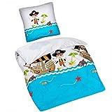 Aminata Kids Kinderbettwäsche 135x200 Junge - Pirat, Baumwolle + 80 x 80 cm Kopfkissen, mit...