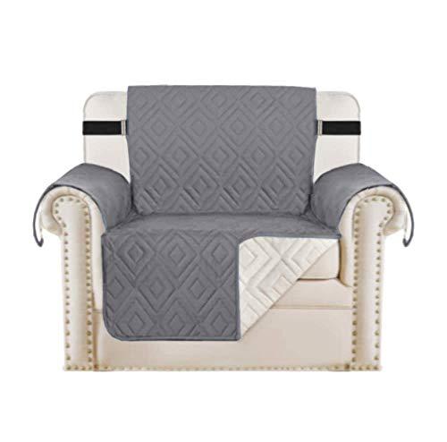 H.Versailtex Sofaschoner, wasserdicht, für Haustiere/Hunde/Kinder, Sesselüberzüge, Möbelschutz, Schonbezüge, gesteppt, rutschfest, mit Gurt, 1-Sitzer, wendbar, grau/beige