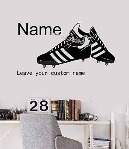 YSHUO Muursticker Mooie voetbalschoenen Gepersonaliseerde gebruikersnaam vinyl sticker jongen kinderen slaapkamer wooncultuur muurschildering