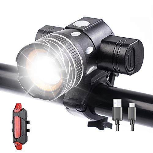HBOY Luces de bicicleta, recargable por USB, 150 lúmenes, luz delantera y trasera de bicicleta, 3 modos de luz, se adapta a todas las bicicletas