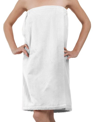 BY LORA Terry Cotton Velour Bath Wrap, Shower Wrap for Ladies Women, White, One Size