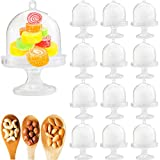 LeonBach 12 Sets Plastic Dessert Table Decorations Stands with Dome, Mini Cake Stand Cupcake Stand Individual Cake Pop Dome Macarron Holder