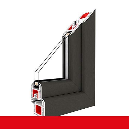Kunststofffenster Quarzgrau Dreh Kipp 2-fach 3-fach Verglasung alle Größen, Anschlag:DIN Rechts, BxH:600x600 (60x60 cm), Glas:2-Fach