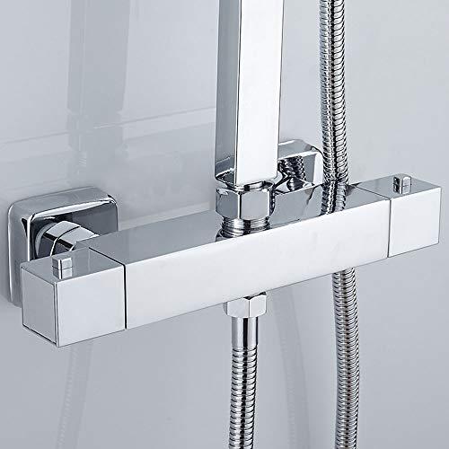 ODOMY Duschthermostat Duscharmatur mit Thermostat für Dusche im Bad mit G 3/4 Oben und G 1/2 Unten Auslauf Anschluss aus Messing Verchromt Eckiger Brausethermostat mit 38 °C Sicherheitstaste