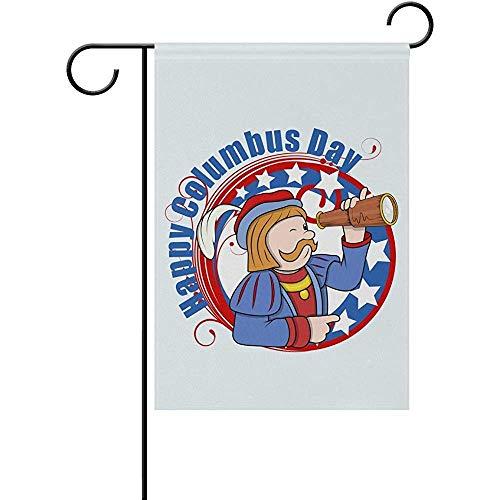 Bandera del Jardín de Bienvenida del Telescopio del Día de Colón 12.5 X 18 Pulgadas, Bandera Estacional al Aire Libre de Doble Cara y la Mejor Decoración para el Hogar del Patio de Fiesta