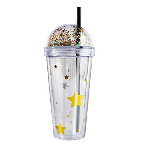 Jugo de Doble Pared del Vaso de café Helado de Agua Taza plástica 420ml Botella de la Bebida con la Tapa de Paja