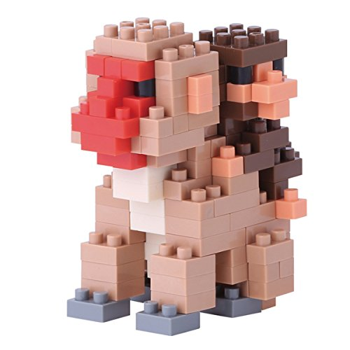 nanoblock NBC-162 - Mother & Baby Monkey / Mutter und Baby Affe, Minibaustein 3D-Puzzle, Mini Collection Serie, 180 Teile, Schwierigkeitsstufe 2, mittel