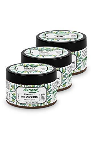 alkmene Intensiv Creme mit Bio Olive - Körpercreme & Gesichtscreme für sehr trockene Haut - Olivenöl Intensivcreme vegan ohne Silikone, Parabene, Mineralöl, PEGs, SLS, SLES im 3er Pack (3x 250 ml)