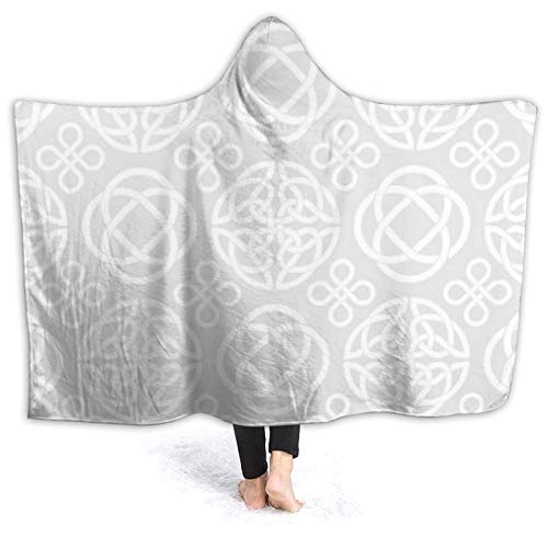 Flannel Wearable Blanket,Seamless Vector Pattern with Celtic Knot Symbols,Robe Wrap Ultra Soft Throw Indoors Or Outdoors Hooded Blanket 60'X50'
