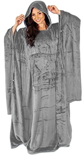 Nightbex® Original Snuggle Blanket - Oversized Super Soft Snuggle Blanket with Fleece - Wearable Comfy Hooded Blanket for Men, Women & Children | One Size fits All