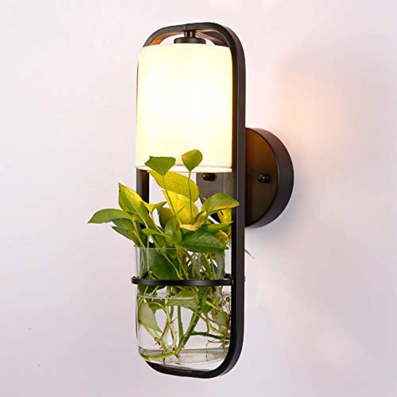JINSH Home Kreative Schmiedeeisen Glas Pflanze Wand Lampe Gang Balkon Korridor American Schmiedeeisen Dekoration Blaume Wandleuchte