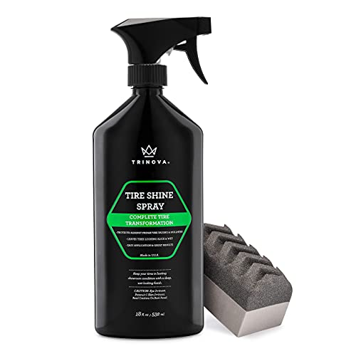 TriNova Tire Shine Spray No Wipe - Automotive Clear Coat Dressing for Wet & Slick Finish - Keeps...