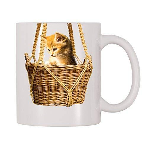 Queen54ferna Kitten In Mand Grappige Koffie Mokken Novelty Keramische Koffiebeker Cadeaus voor Mannen, Vrouwen, Mama, Papa, Leraar, Kerst Mok, Verjaardag, Pensioen,Graduation Cadeaus