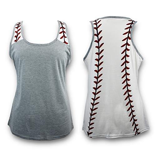 KNITPOPSHOP Baseball Tank Top for Mom Fans T Shirt Apparel Tshirt Gifts Team (Grey, XXL)