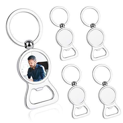 WBCBEC 5 Pieces Sublimation Blanks Keychains, Metal Bottle Opener Blank Key Rings, Aluminum Heat Transfer Round Sublimation Keychains for Boyfriend Husband Custom, Personalized Sublimation Photo