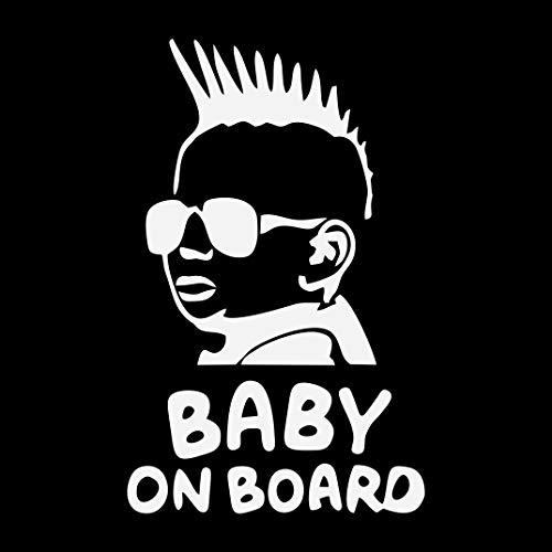 Autocollant Baby on board pour voiture, moto ou ordinateur Blanc