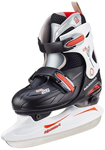 Nijdam Kinder Eishockey Schlittschuhe Größenverstellbar Eishockeyschlittschuhe, Schwarz/Rot/Weiß, 30-33