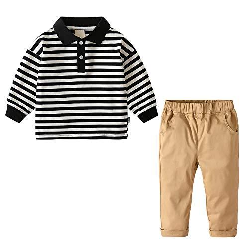 Kleinkind Baby Jungen Polo Shirt Tops + Hosen 2 STÜCKE Set Kleidung (Schwarzer Streifen,2-3 Jahre)