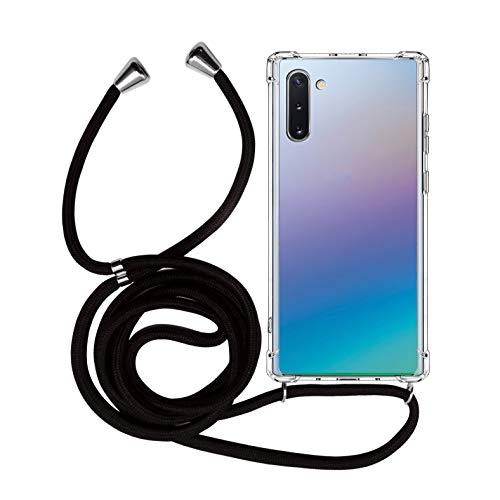 MyGadget Handykette für Samsung Galaxy Note 10 TPU Hülle mit Handyband zum Umhängen - Handyhülle Halskette Schnur Band Case Schutzhülle - Schwarz