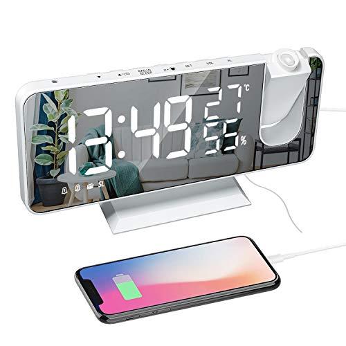 """Radio Despertador Proyector, Reloj Despertador Digital con Puerto USB, Pantalla de Espejo LED de 7"""", 180° Rotativo Despertador Proyector Humedad Temperatura Interior con 2 Relojes Despertadores"""