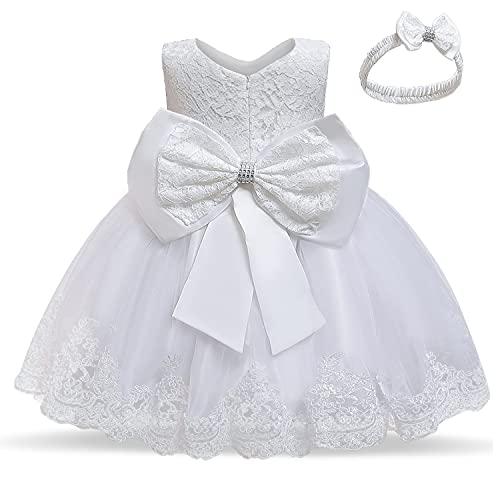 TTYAOVO Beb Boda Bautismo Bautizo Tutu Vestido Chicas Princesa Vestir Talla(90) 12-24 Meses 648 Blanco