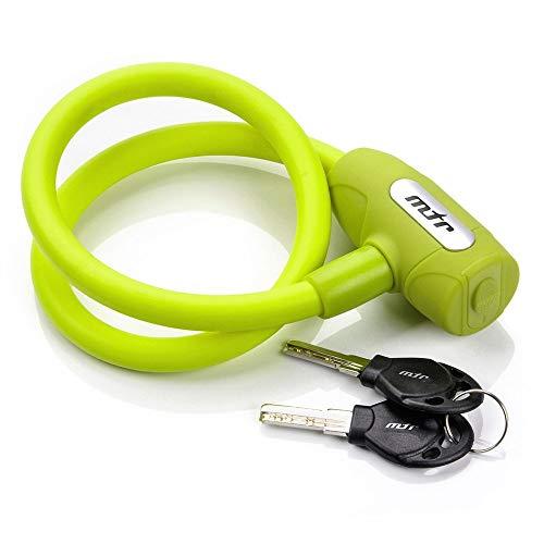 meteor Candado para Bicicleta - Cable de Bloqueo antirrobo Alta Seguridad para la Bicicleta - Cerradura - Candado de Cable (65 cm, Clave (Verde))