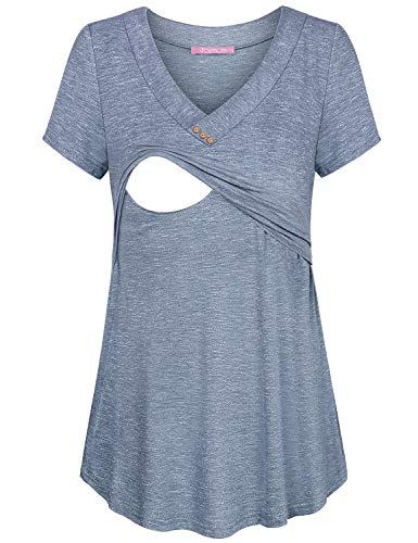 JOYMOM Maternity Tunic Tops,Pregnancy V Neckline Short Sleeve Concise Breastfeeding Clothes Latched Mama Double Layer Trapeze Flowy Nursing Shirts Spring Housewear Blue White L FBA