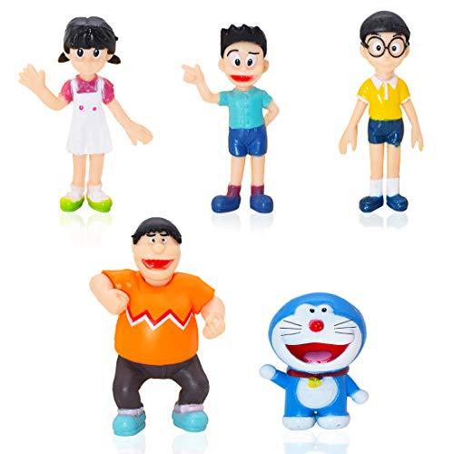 Cake Topper - YUESEN 5 unidades Diseño de paisaje de Doraemon Familia, figuras de acción, juguetes para niños,Mini Juguetes Baby Shower Fiesta de cumpleaños Pastel Decoración Suministros