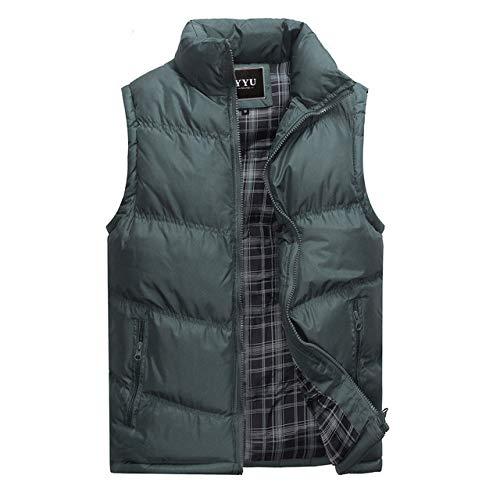 BAONUANY Gilet Mensen, Groen Heren Jas Mouwloos Vest Winter Mode Casual Jassen Mannelijke Cotton-Gewatteerde Heren Vest Mannen Dikke Waistcoat