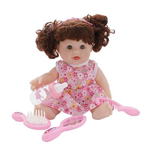 GuDoQi Bambola Reborn, 12 pollici 30cm Bambola per Neonato Reborn di Simulazione, Bambola Realistica in Silicone Morbido Realistico Pettine, Specchio e biberon, Regalo per Ragazza