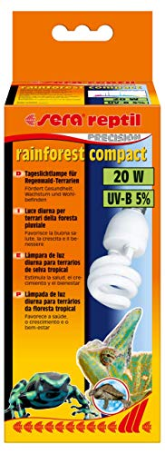 sera Reptil Rainforest Compact – Lámpara de terrario de selva tropical 20 W y 5% UV-B con casquillo E27 – Iluminación o lámpara para terrarios de selva tropical, apta para Sera Reptil Terra Top – Lámpara de pie de 300 W, 32020