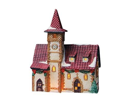 meindekoartikel Kirche in Bayern aus Porzellan – Windlicht Lichthaus Miniatur-Modell – B15 x T8 x H20 cm
