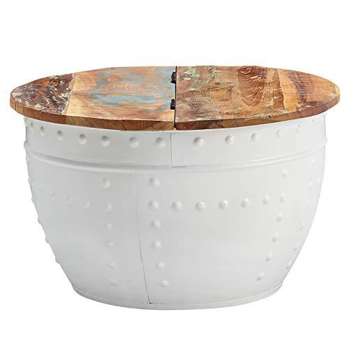 FineBuy Couchtisch Mango 60x36x60 cm Massivholz Metall Industrial Rund Weiß | Design Wohnzimmertisch mit Stauraum | Loungetisch Sofatisch Modern