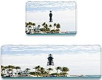 VAMIX キッチンマット United States Lighthouse Palms Print おしゃれ 滑り止め 台所マット 洗える 床保護マット フロアマット 床暖房対応 騒音対策 キズ防止 カーペット ラグ,2点セット