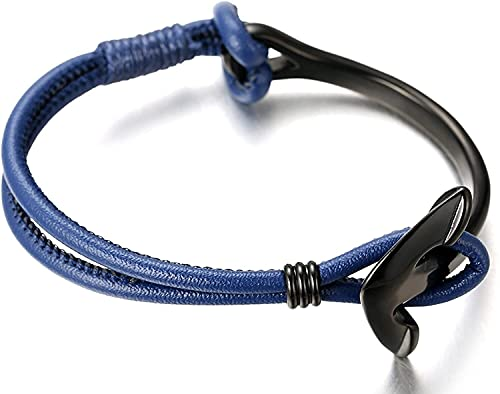 GHXAKPT Pulsera Hecha a Mano de Cuero Azul Genuino de los Hombres Titanio Negro de Anclaje de Titanio 8.46'(21.5cm) (Color : A)