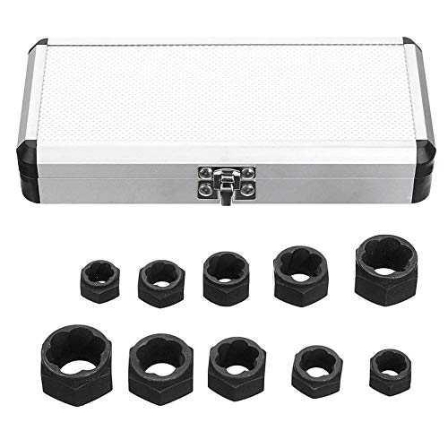 MTGATHER 10Pcs Damaged Bolt Nut Screw Remover Extractor Removal Set Nut Removal Socket Tool Black 9-19mm Best Price