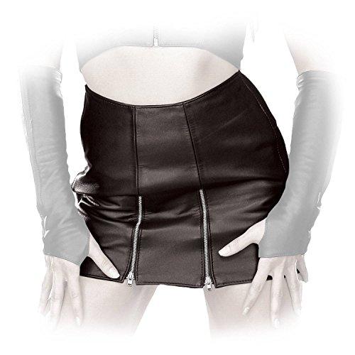 Ledapol - Kurzer Echt Leder Minirock mit zwei Front-Zips schwarz - Gr. S