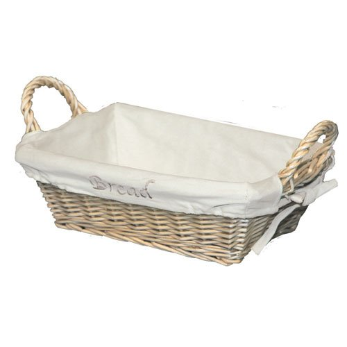 JVL Rectangular Split Willow Lined Bread Basket with Loop Handles