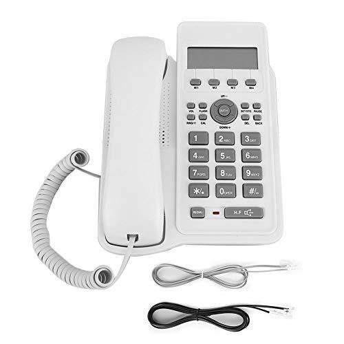 Topiky Telefono con Filo, kx-7712CID Telefono Fisso Fisso da Parete scrivania Inglese Commercio Estero Telefono Fisso Design interfaccia a Due Fili per casa Ufficio(Bianca)