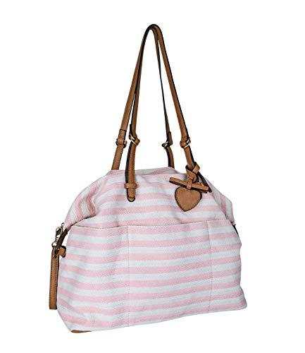 SIX Damen Handtasche, großer Shopper in rosa und beige gestreift, mit braunen Henkeln und goldenen Details (726-741)