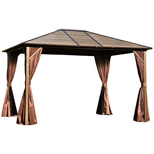 Outsunny 12' x 10' Steel Hardtop Canopy Patio Gazebo with Fully Enclosed Zippered Curtains & Comfortable Interior, Brown