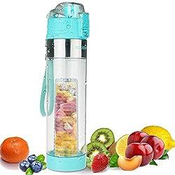 FCSDETAIL sport bottle for fruit spritzer 700ml, water bottle with bottle brush, leak-proof hinged lid, BPA-free Tritan plastic bottle with infuser and strainer