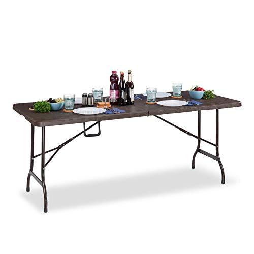 Relaxdays Garden, Wood Look, Rectangular Folding Table, Safety Lock, Handle, HxWxD: 73 x 180 x 74 cm, plastic, steel, Brown