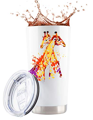 Giraffe Gifts | 20oz White Steel Tumbler/Mug for Wine/Coffee w Lid | Unique Giraffe Coffee Mug for Women | Wine Glass Beer Mug Cup Stuff Decor with Giraffes