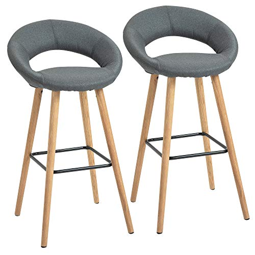 HOMCOM Tabourets de Bar Design scandinave - Lot de 2 tabourets de Bar - Repose-Pied intégré - Bois de hêtre Lin Gris