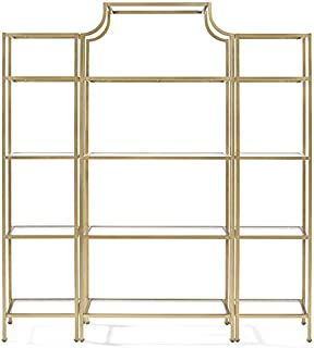 Crosley Furniture Aimee 3-Piece Etagere Bookcase Set - Gold and Glass