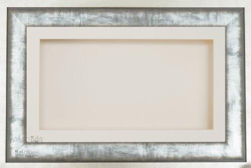 Anika-Baby écran 17,8 x 33 cm/33 x 17,8 cm Boîte en bois Cadre en milieu urbain en métal argenté avec carte Passe-partout crème et carte de dos, façade en verre 36,8 x 21,6 cm