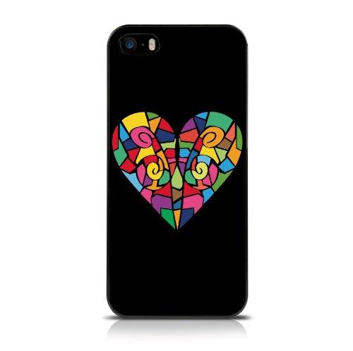 Call Candy glazen hart achterkant voor iPhone 5S, zwart/multicolor