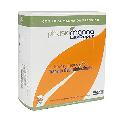 PHYSIOMANNA LAXDEPUR Integratore Alimentare con Pura Manna da Frassino - per il Benessere e il Transito Gastrointestinale, Effetto Depurativo - 12 panetti