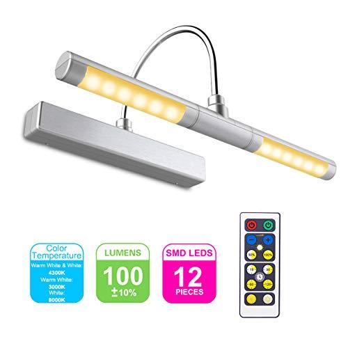 HONWELL Bilderleuchte LED Verstellbare LED Wandleuchte 3 Beleuchtungsmodi AA Batterie Betrieben mit Fernbedienungen 180 ° Schwenkarm, Dimmbare Anzeigelampe mit Timer für Spiegelanstrich, Silber